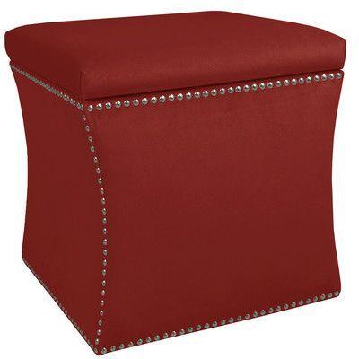 House of Hampton Diahann Nail Button Storage Ottoman Upholstery: Premier Red