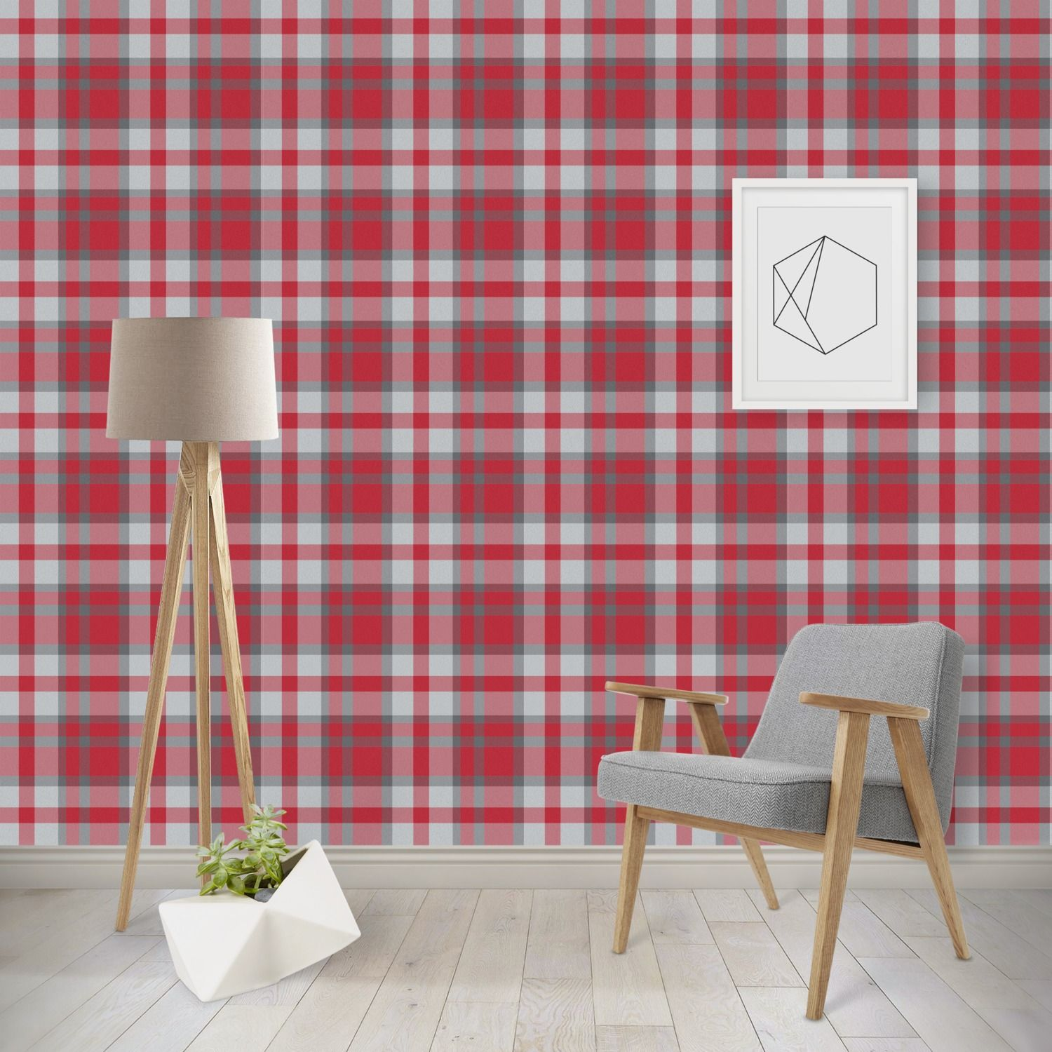 Red & Gray Plaid Wallpaper & Surface Covering (Peel