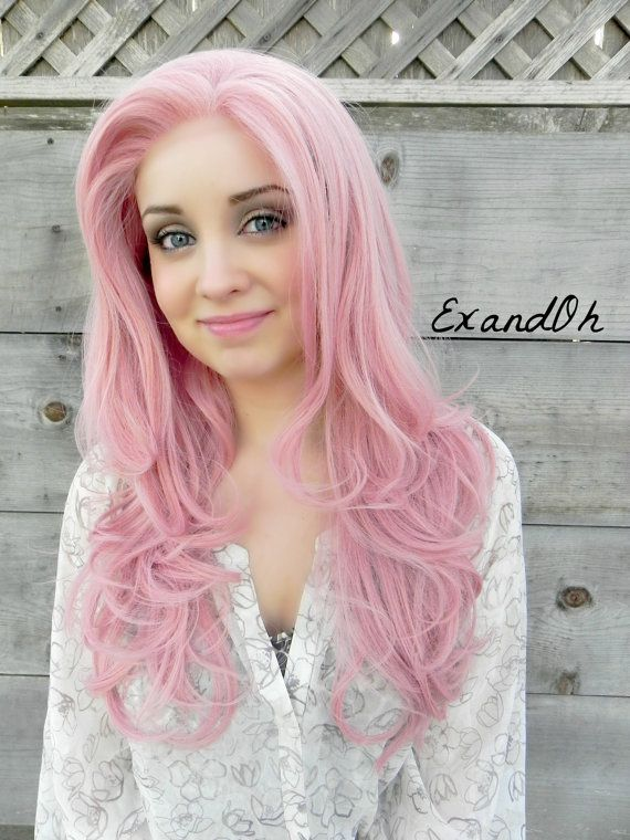 SALE // Lace Front Wig, Rose Petal Pink Hair, Pin Up Hair Style, Long Wavy Natural Hair, Full Body Curly, Pastel Lolita