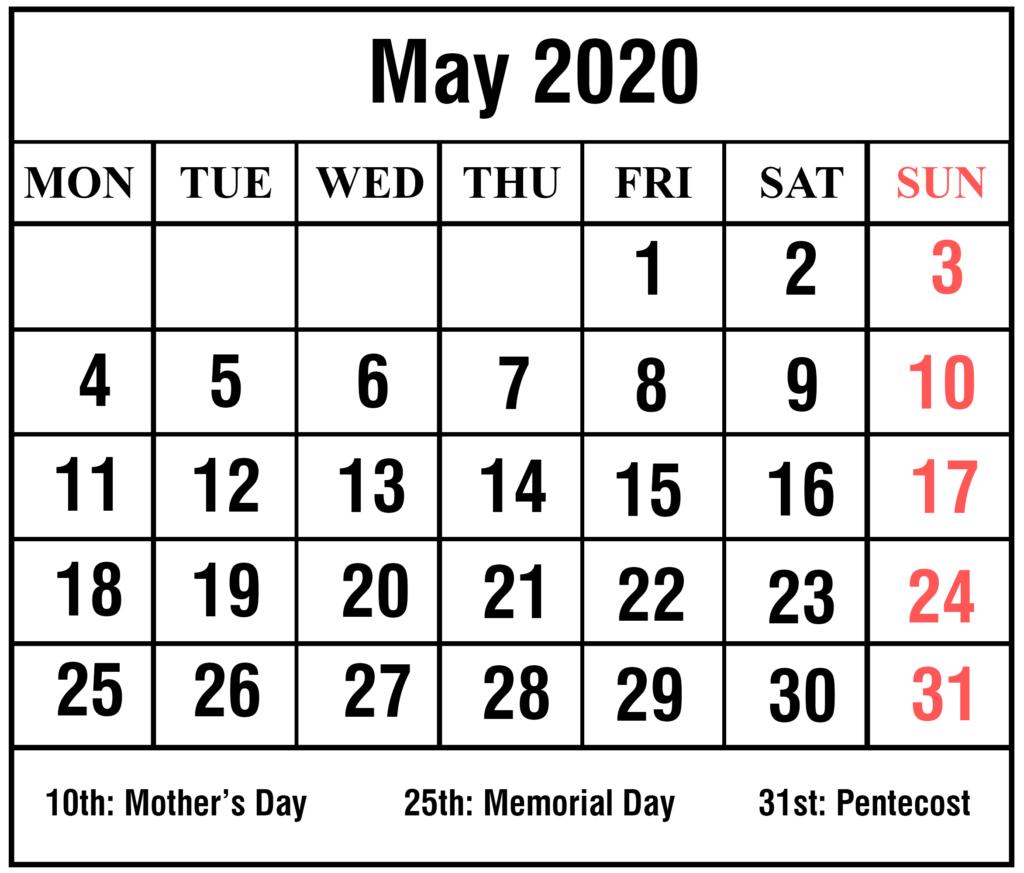 Free May 2020 Printable Calendar Template #may #may2020
