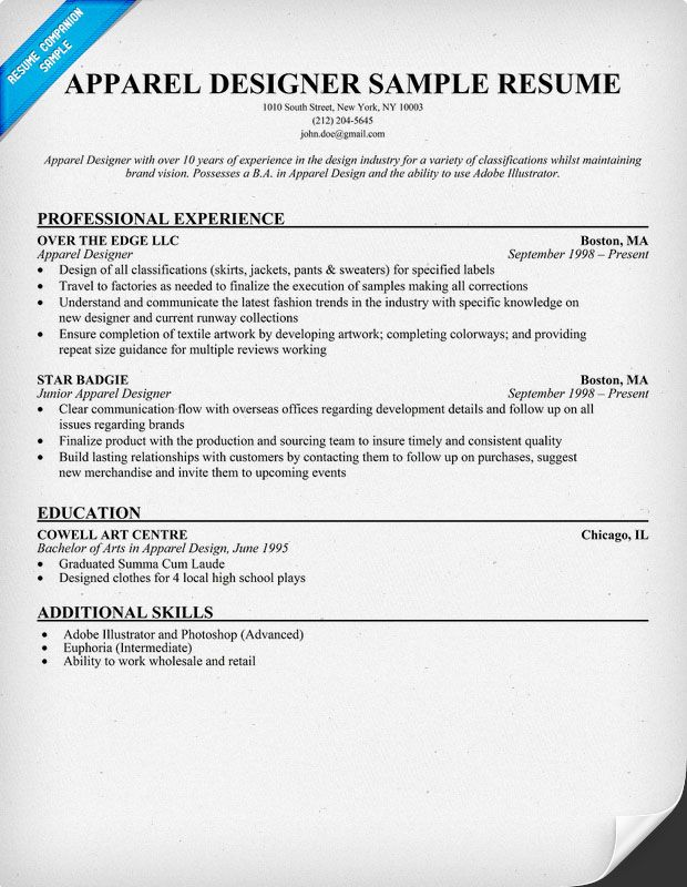 Apparel Designer Resume Example (resumecompanion) Resume - fabric manager sample resume