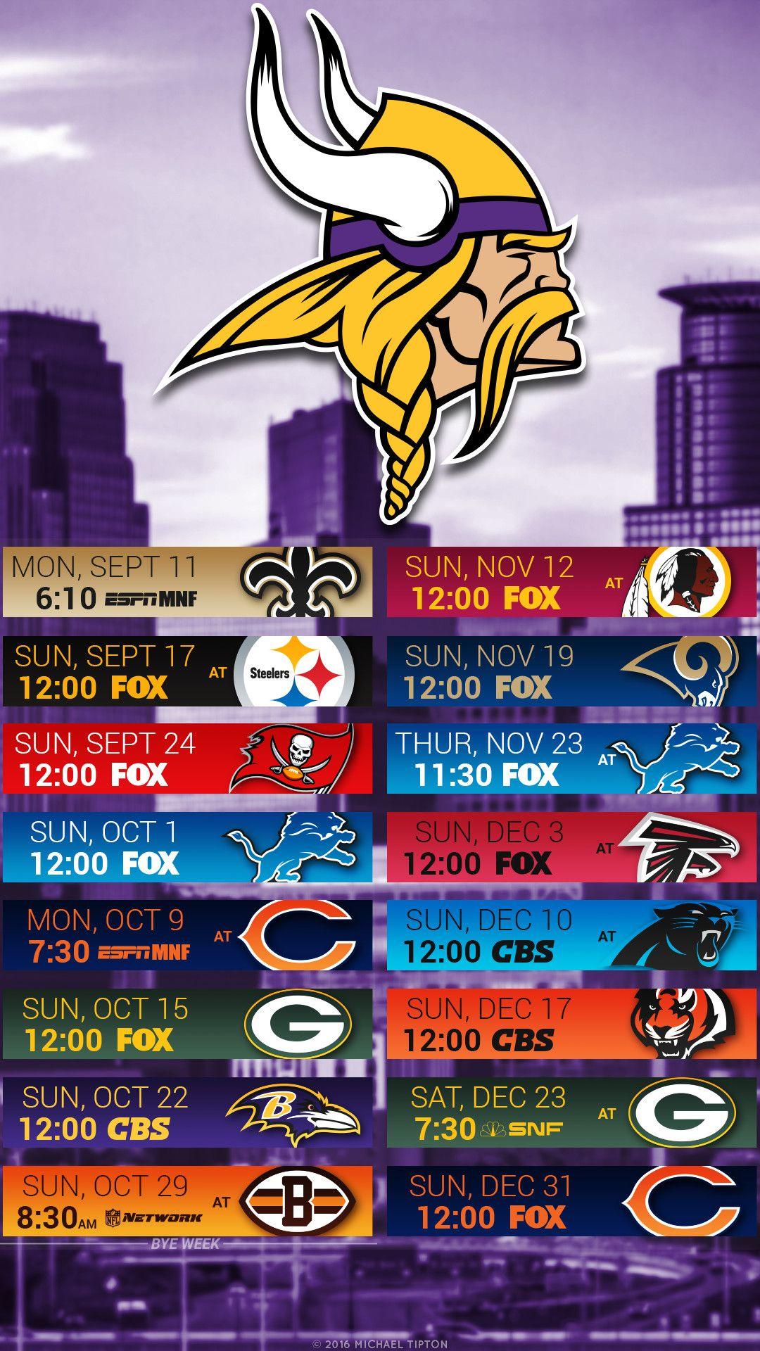 1080x1920 Minnesota Vikings 2017 schedule turf logo