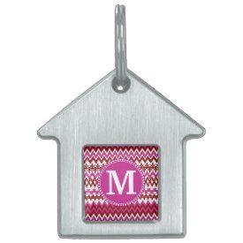 Personalized Monogram Hot Pink Red Tribal Chevron Pet Name Tags