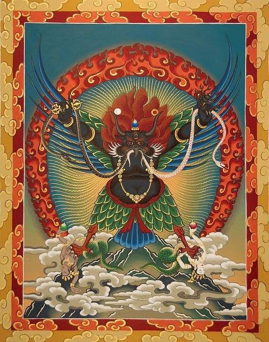 Healing Garuda, Tibetan Buddhist thangka