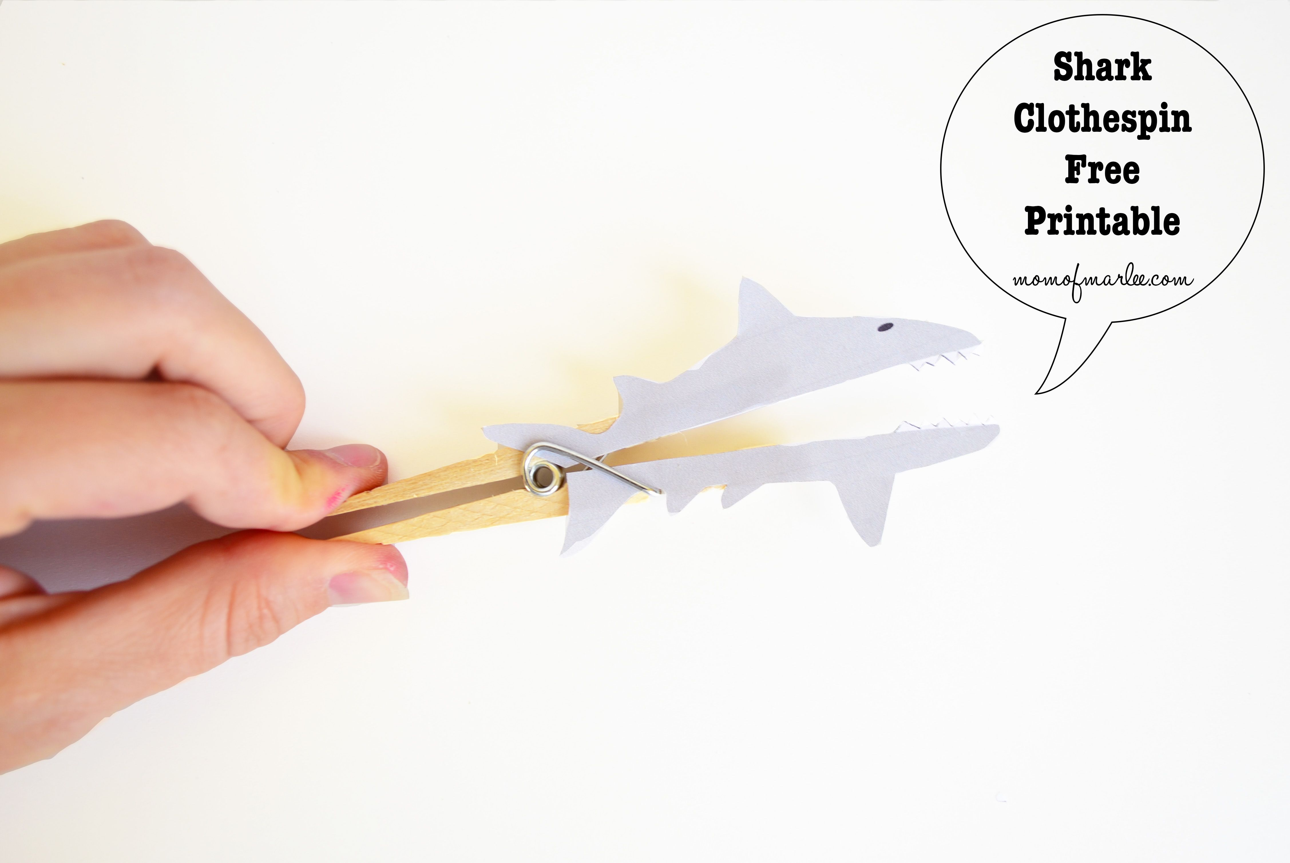 Shark Clothespins Free Printable