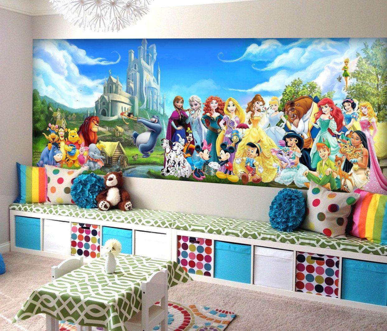 Disney Characters Wall mural, Vinyl Mural, Wallpaper, Wall ...