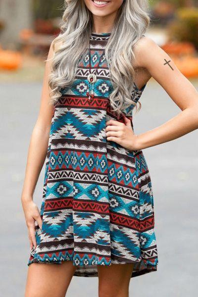 4bd55f76e7ff tribal print dress