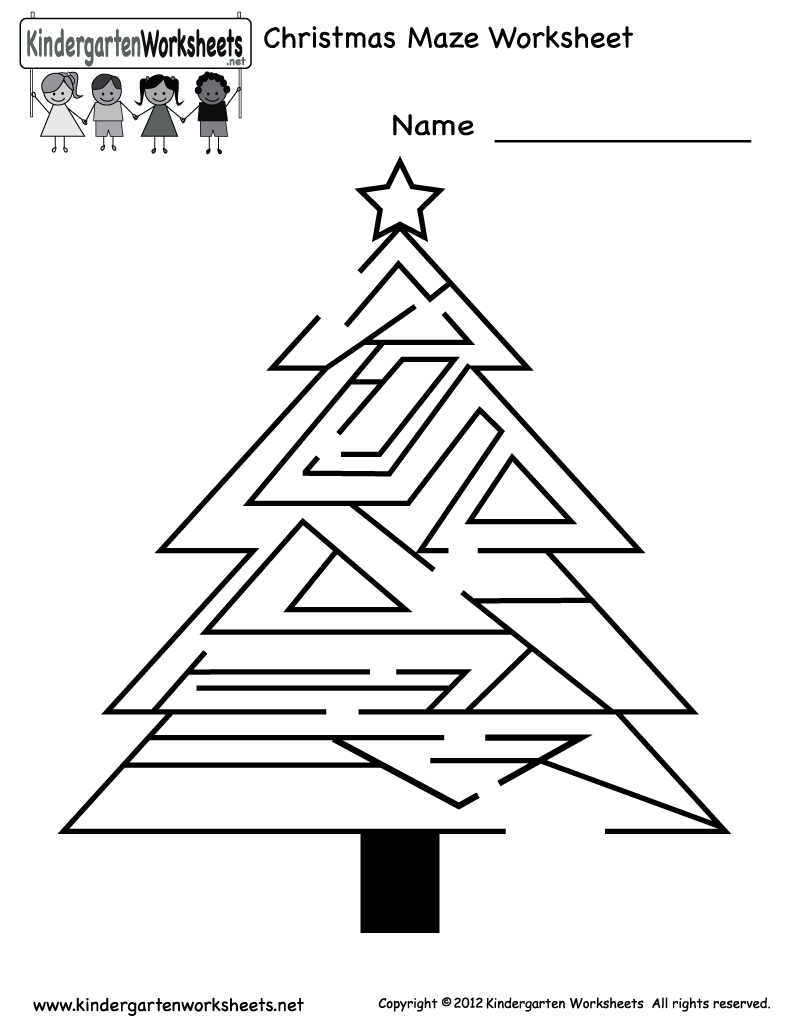 Free Printable Holiday Worksheets | Kindergarten Christmas Maze ...
