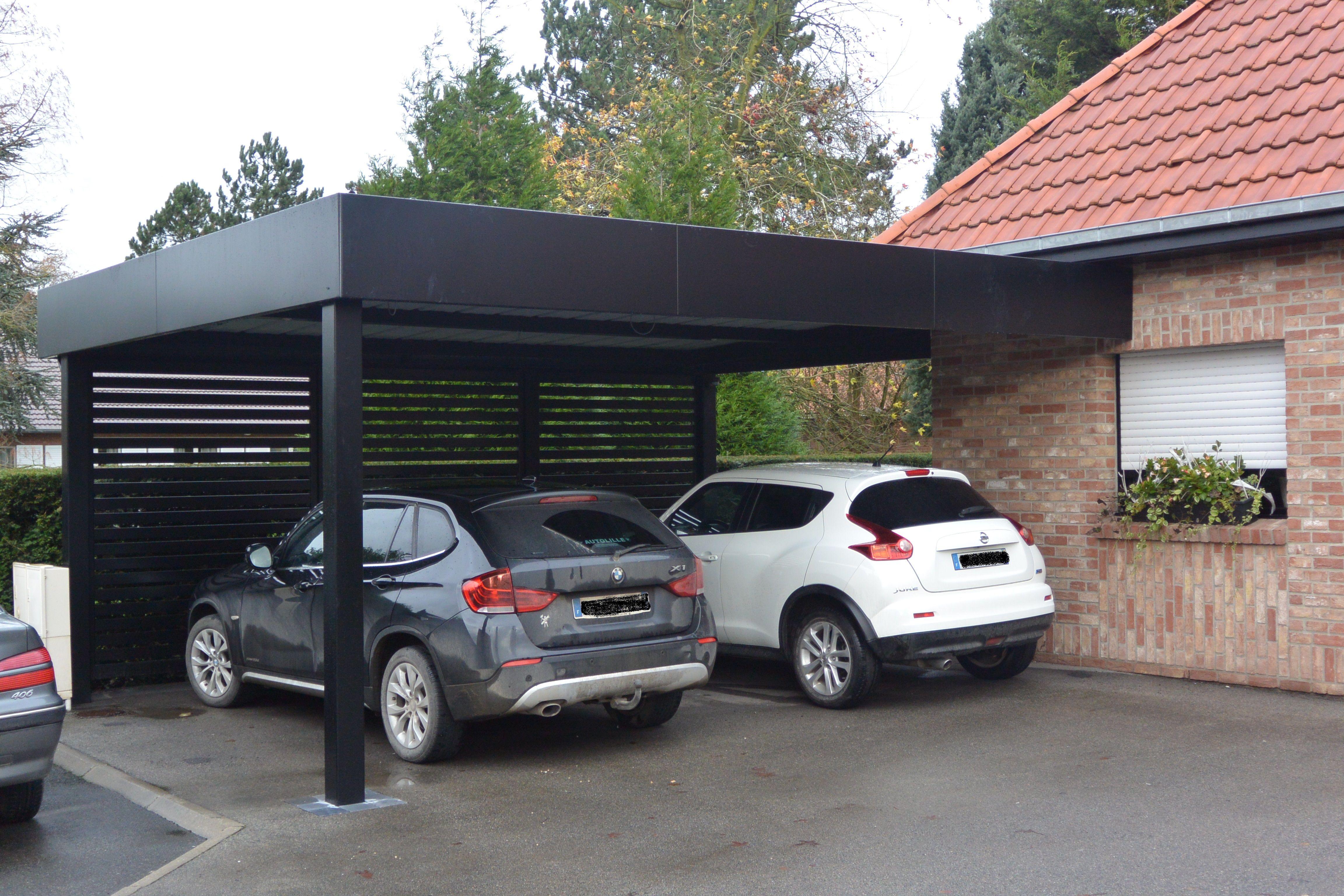 Carport Noir Semi Adosse Fabrication Francaise En Aluminium Epais Avec Profils Robustes E Amenagement Entree Maison Abri De Voiture Moderne Garage Toit Plat