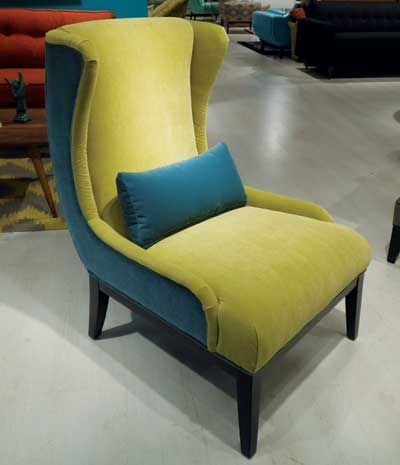 Younger Furnitureu0027s Cash Chair Features Two Key Color Influences U2014 Deep  Peacock Blue And Chartreuse U2014