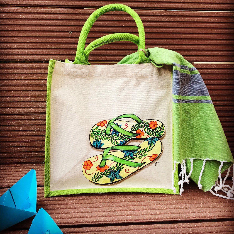 Ellesetno A Partage Une Nouvelle Photo Sur Etsy Handpainted Bags Jute Bags Cloth Bags