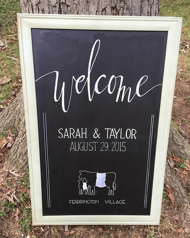 Welcome sign for Sarah & Taylor's beautiful wedding at Fearrington Village…