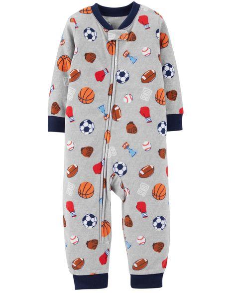 0ea6d1f56 1-Piece Sports Fleece Footless PJs