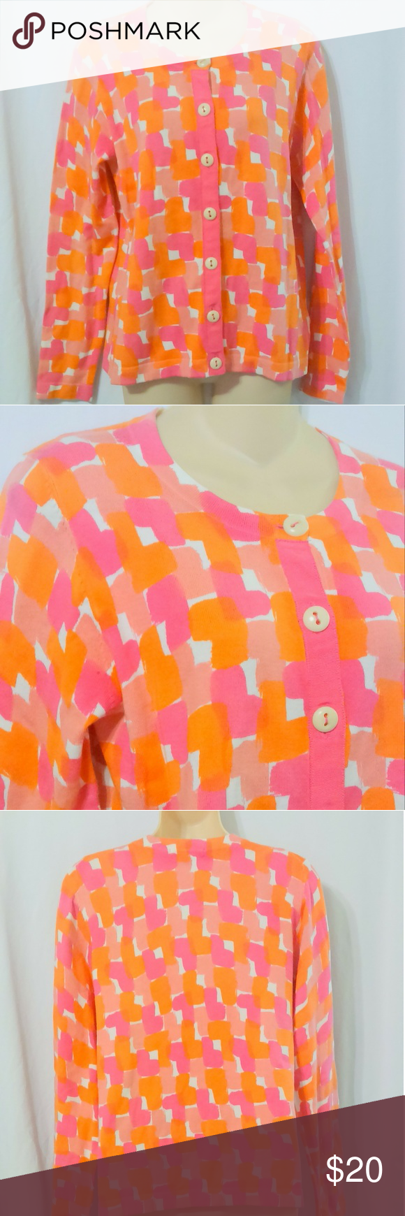 BODEN Hot Pink and Orange Print Cardigan Sweater This orange and ...