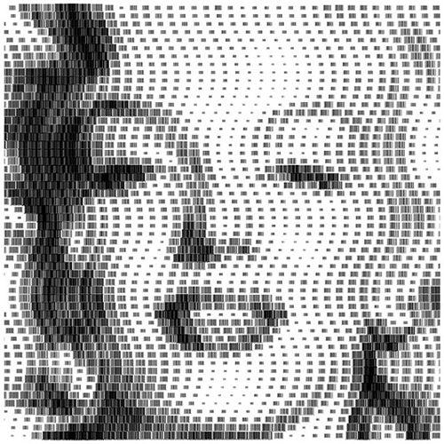 偶像的な有名人と大衆の関係性をバーコードに使ったアート