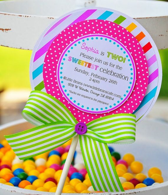 Lollipop Invitations Candyland