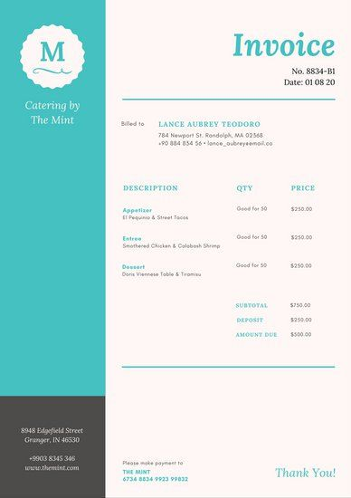 Teal Grey Badge Catering Fancy Invoice Letterhead Invoice Design