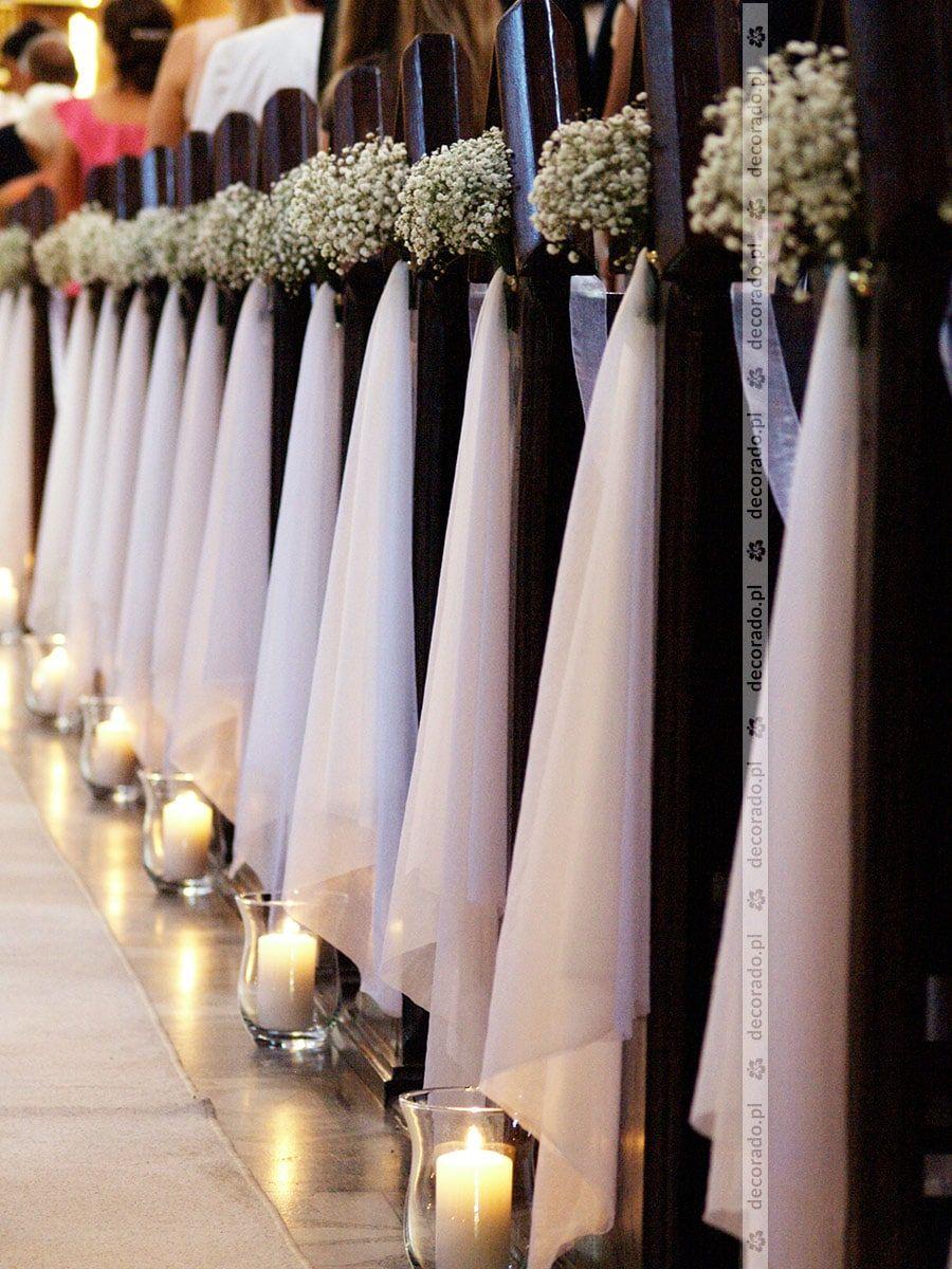 Ślubna dekoracja kościoła z gipsówką