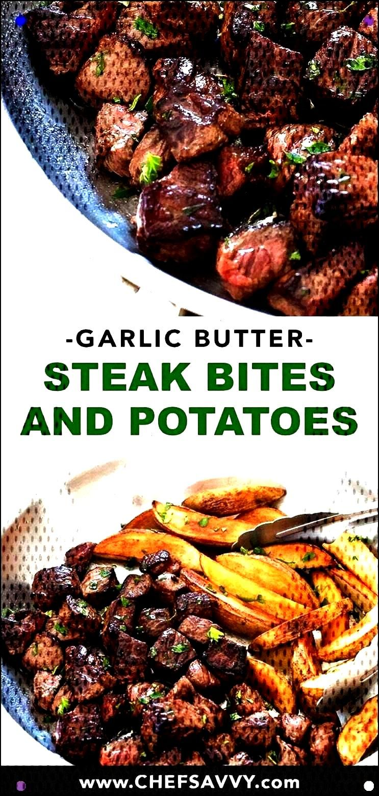 Butter Steak Bites And Potatoes. Delicate Strip Steak Seared In A Garlic Butter Sauce Alongside Cri