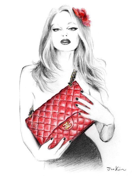 Fashion illustration 'I Love My Chanel Handbag' by Soo Kim