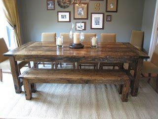 Country Style Dining Table And Bench Made From Pallets Farmhouse Dining Room Table Farmhouse Dining Room Farmhouse Dining