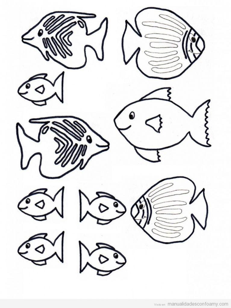 Plantilla o molde de pez peces para manualidades con niños ...
