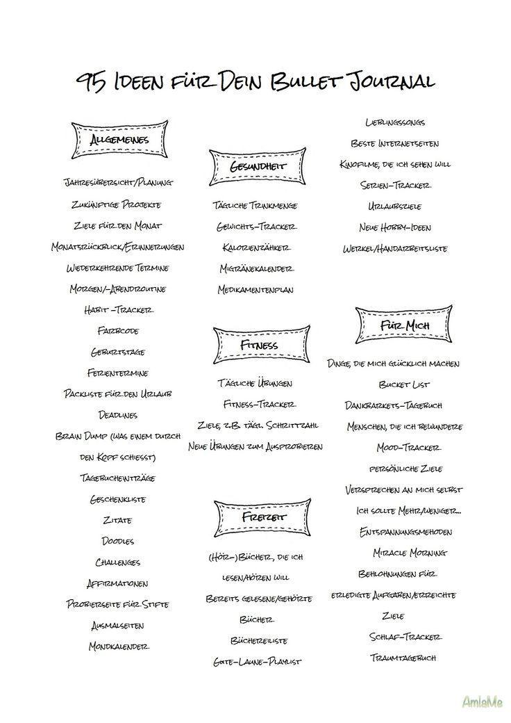 95 Ideen für Dein Bullet Journal- mit Printable | AmlaMe #bujoidées