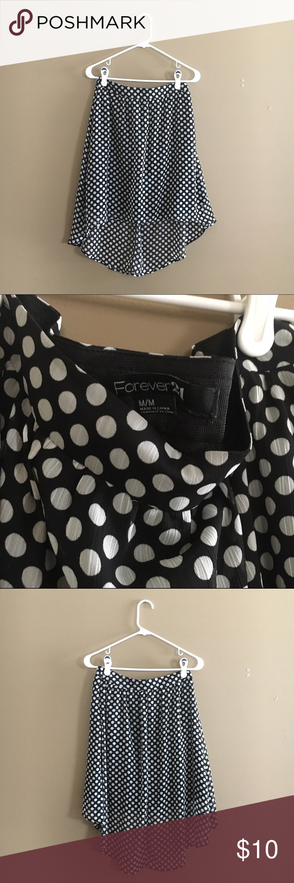 Forever 21 Black Polka Dot Hi-Lo Skirt In very good condition. Forever 21 Skirts High Low