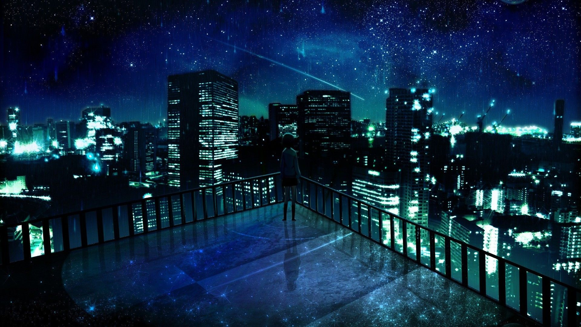 Stunning Anime City Wallpaper  Anime Stars Sky Anime Blue Anime Anime City
