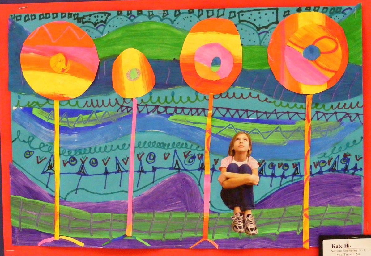 5th Grade Hundertwasser Collage Portrait Paintings