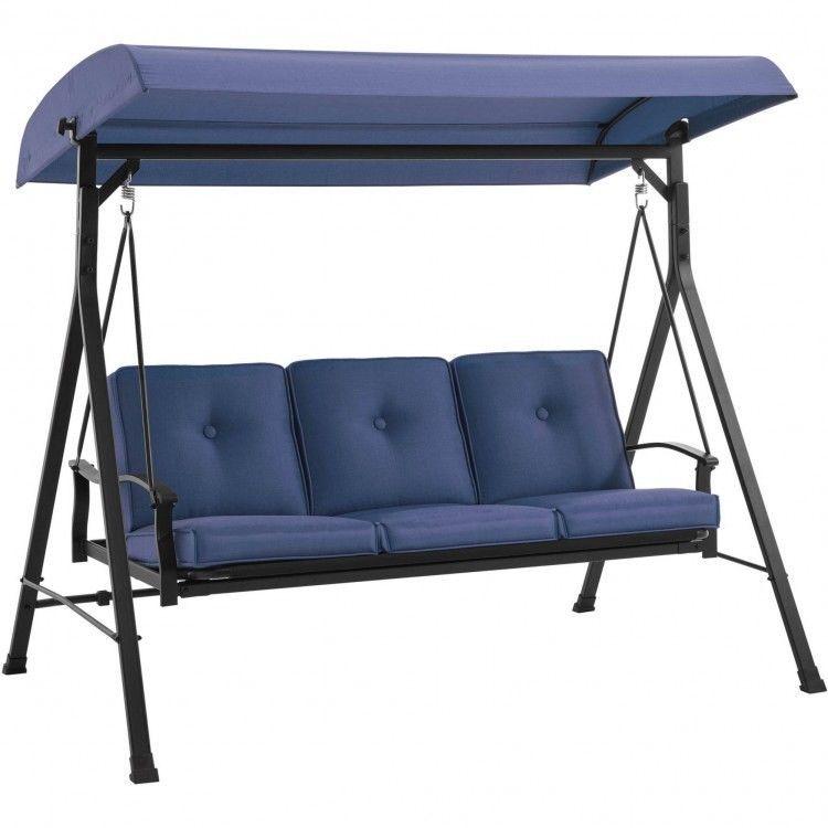 3 Person Patio Swing Adjustable Canopy Porch Blue Recline Fade Resistant  Plush