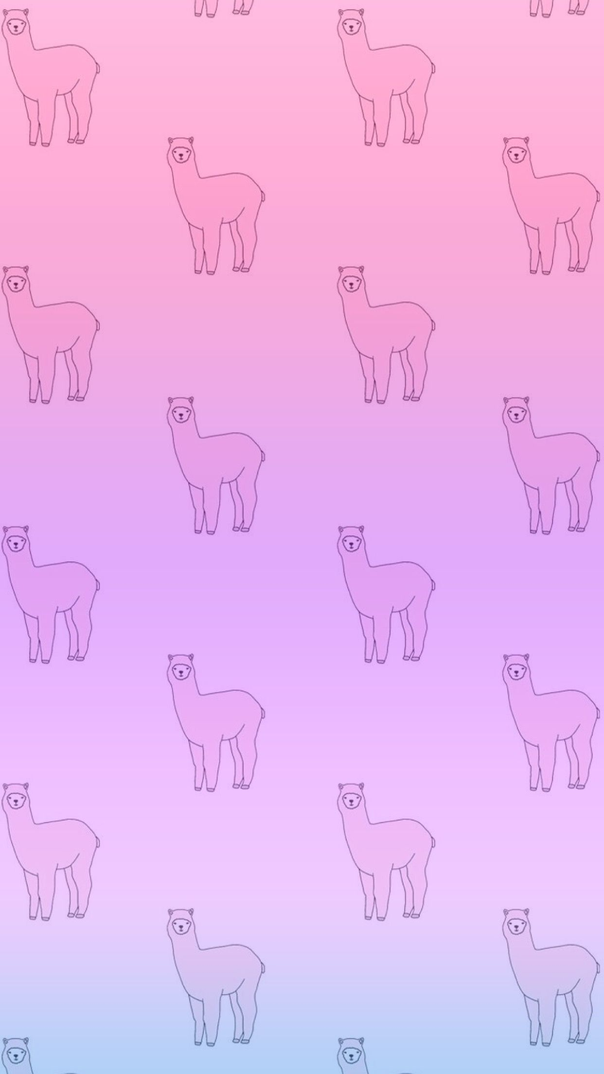 Alpaca Cute Pink Purple Gradient Wallpaper IPhone Android