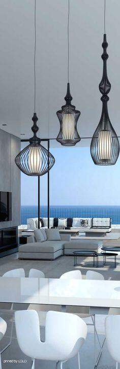 Enorm penthouse met veel wit en lak en de Alezio lampen van Goossens ...