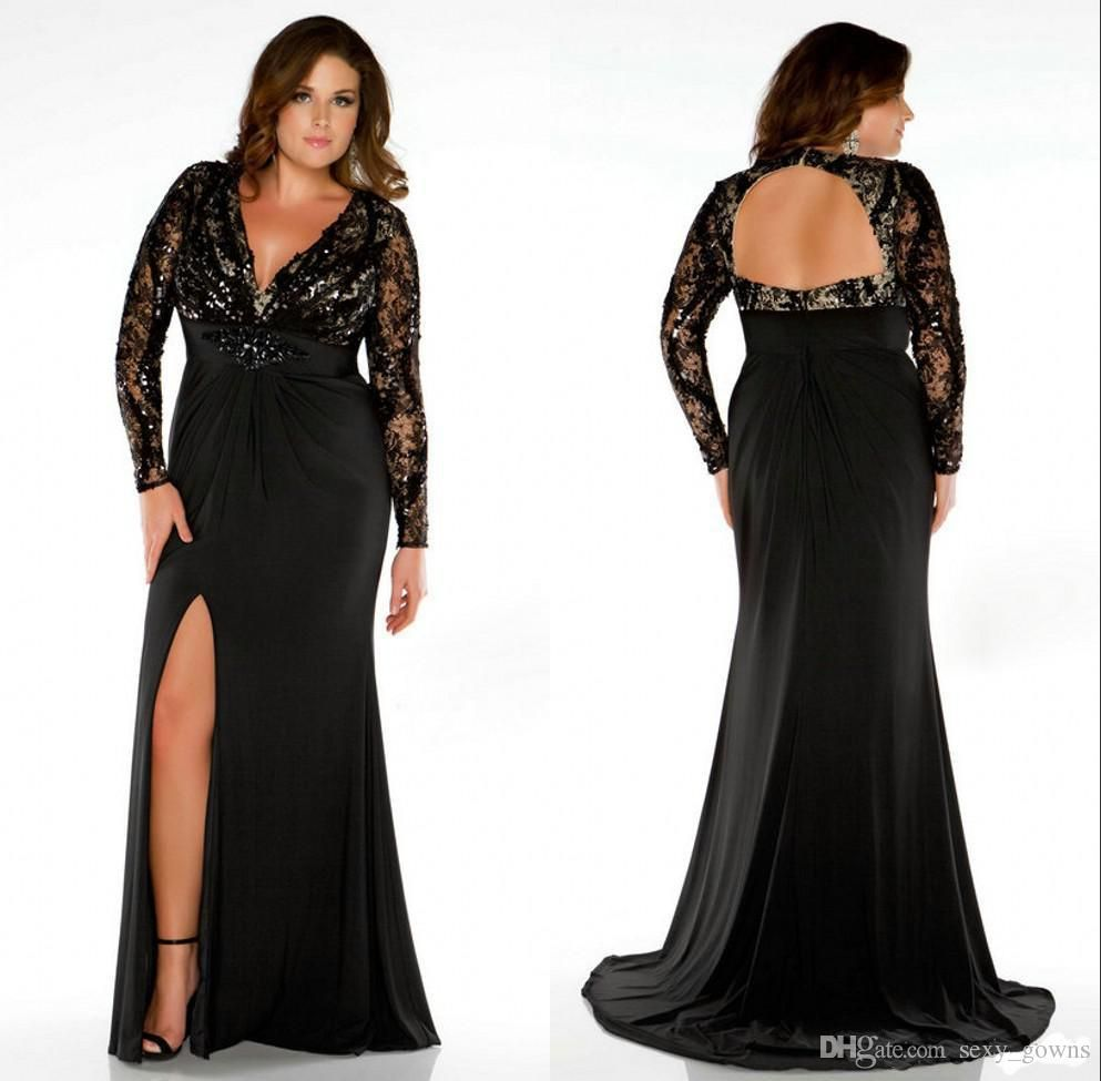 2016 Plus Size Special Occasion Dresses Black V Neck Long Sleeve