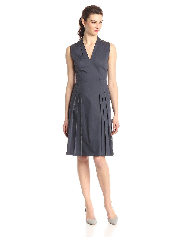 Jessy Cotton Poplin Pleated Dress By Elie Tahari Pleated Dress Fit And Flare Dress Wear To Work Dress [ 1500 x 1154 Pixel ]