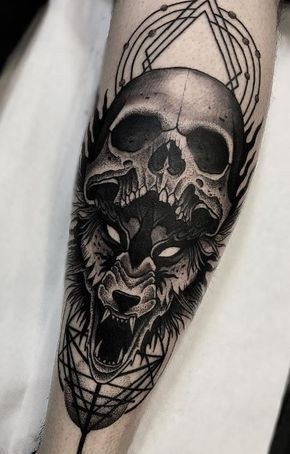 Skull Wolf Tattoo Inkstylemag Wolf Tattoos Men Skull Tattoo Design Wolf Tattoos