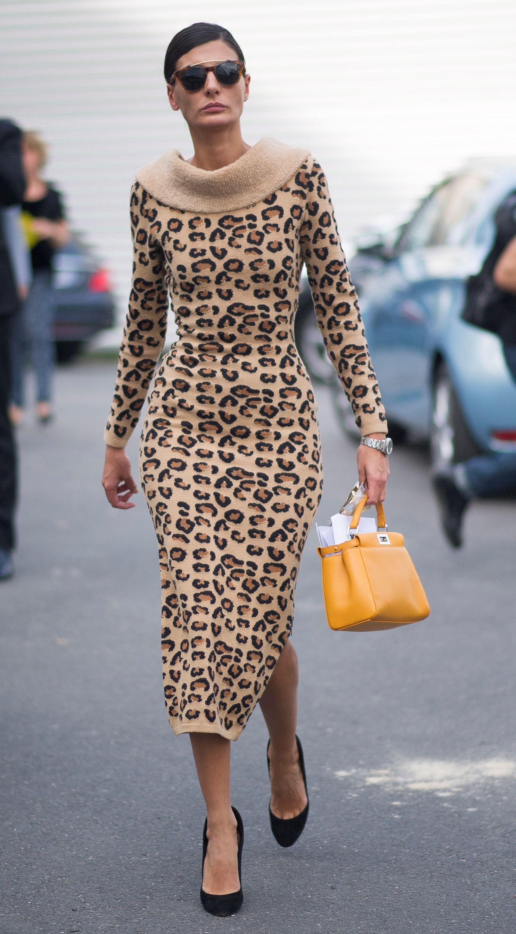 b96f922062 Giovanna Battaglia paired her 1991 leopard print dress from Azzedine  Alaia with an adorable yellow Fendi Mini Peekaboo leather bag at the  Paris Fashion ...