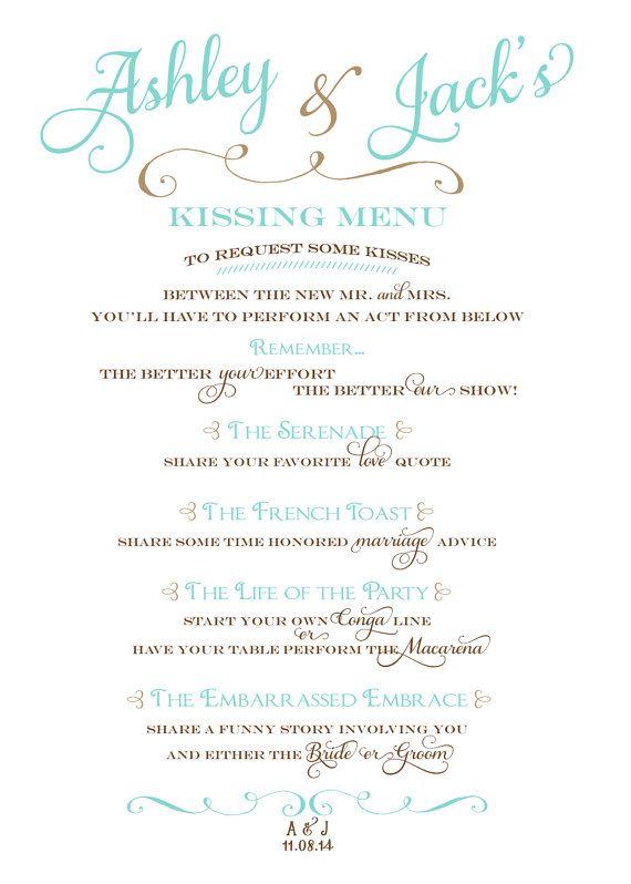 Wedding Kissing Menu By Blushandbliss Kissing Menu New Wedding