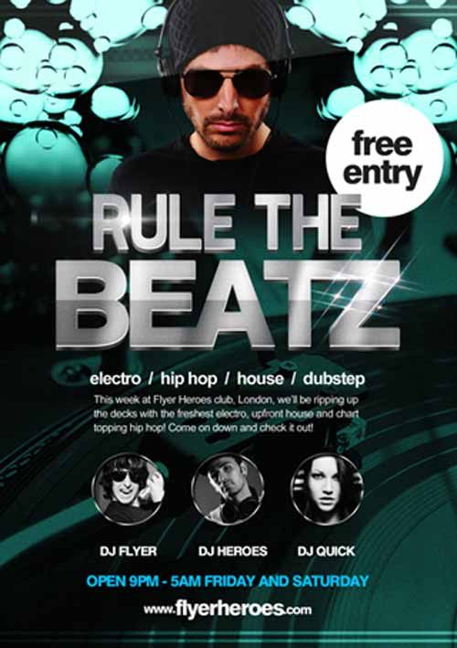 Rule The Beats Free Flyer Template  HttpFreepsdflyerComRule