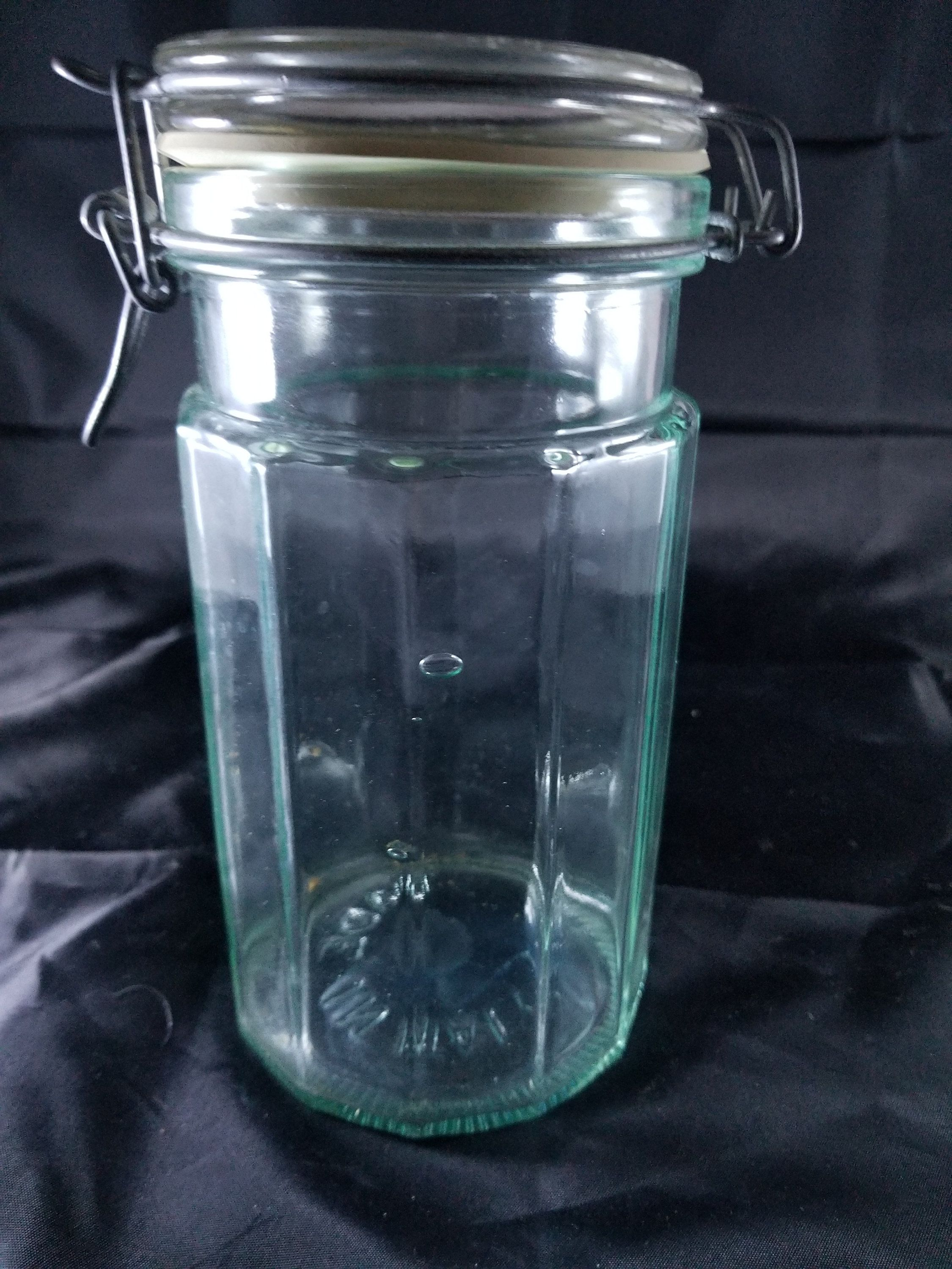 Vintage Hermetic Clear Green Glass Jar Made In Italy 8 Tall 4 Wide