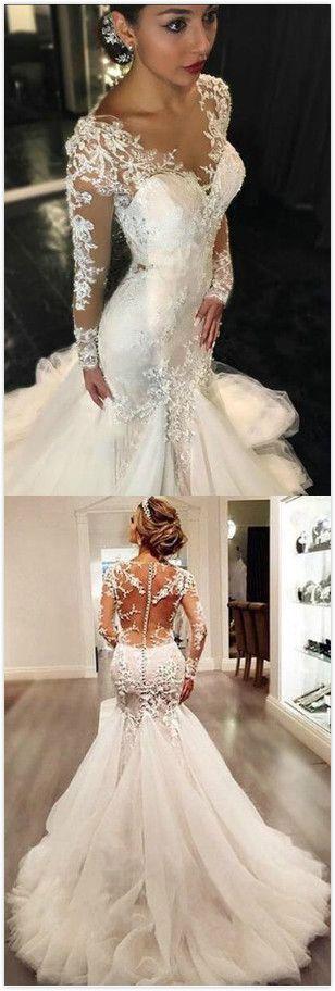 Vintage Lace Wedding Dress,Mermaid Wedding Dress, Long Sleeves ...