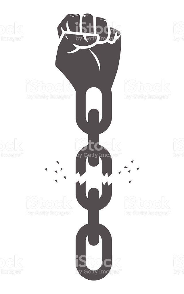 Hand Breaking Chains Freedom Concept Vector Illustration Black Lives Matter Art Black Power Art Freedom Art