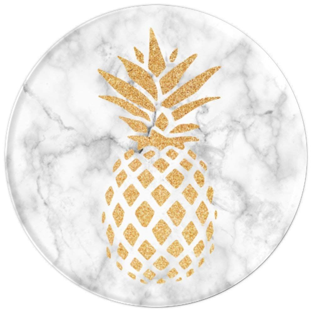 Amazon Com Gold Pineapple On White Marble Popsockets Grip And Stand For Phones And Tablets Cell Phones Accessories Popsockets Gold Pineapple White Marble