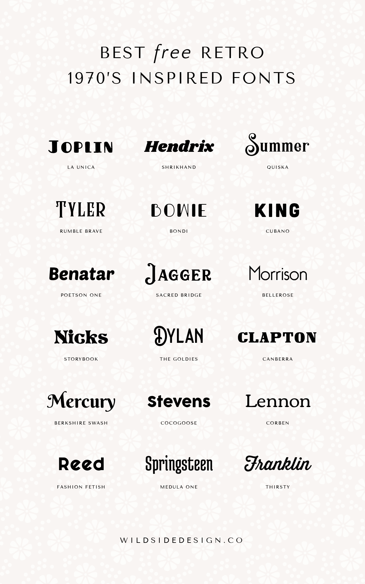 The Best Free Retro 1970's Inspired Fonts | Wild Side Design Co.