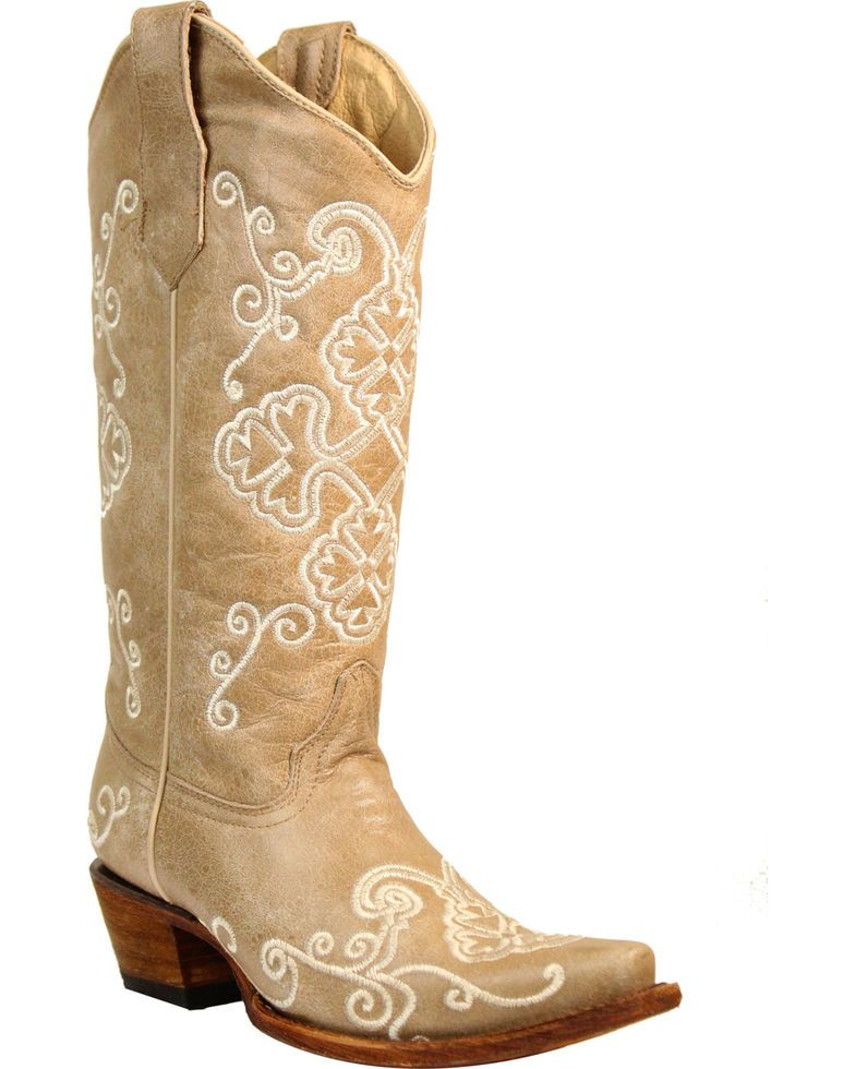78077a66ad6 Circle G Women's Bone Embroidered Cowgirl Boots - Snip Toe in 2019 ...