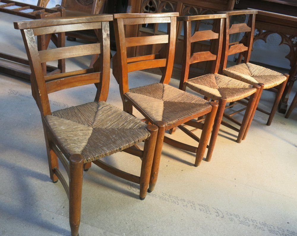 Two Pairs of Old Rush Seated Chapel Church Chairs Pair on right,  traditional ladder backs: 41cm W x 79cm H x 37cm D. SH: 43cm Pair on left,  curved oddly ... - Two Pairs Of Old Rush Seated Chapel Church Chairs Pair On Right