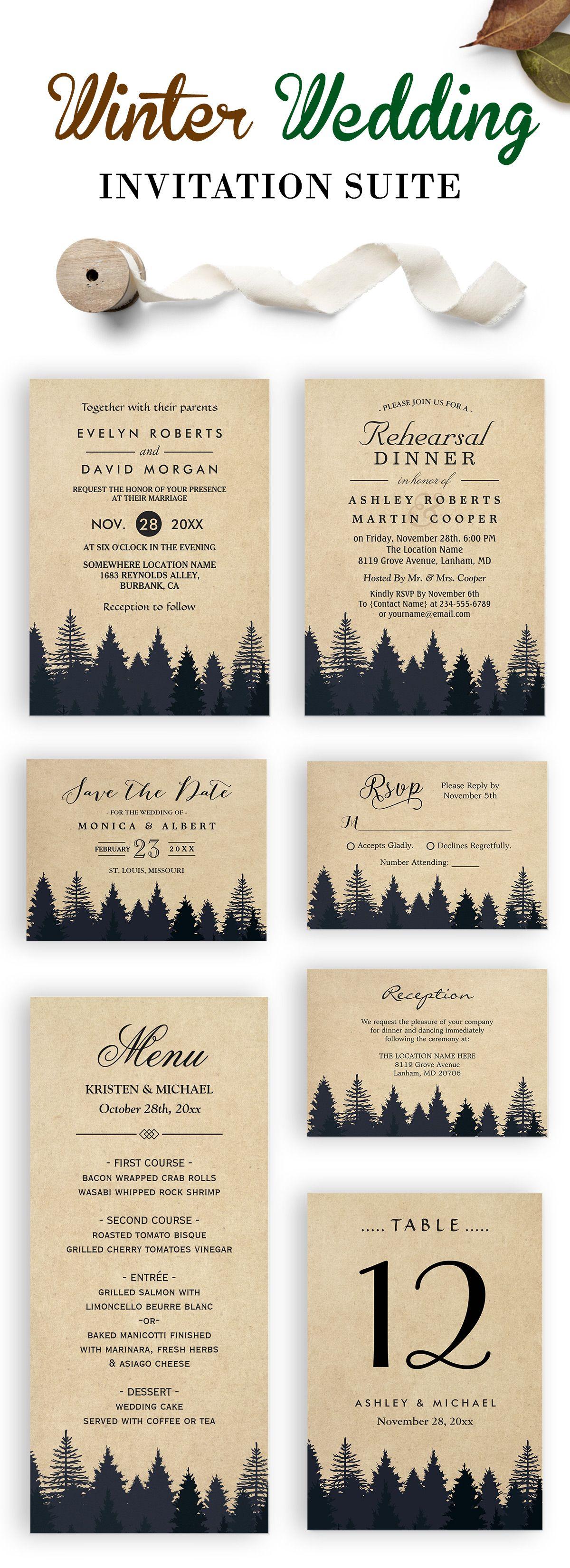 This Rustic Kraft Pine Trees Wedding Invitation Suite is just ...