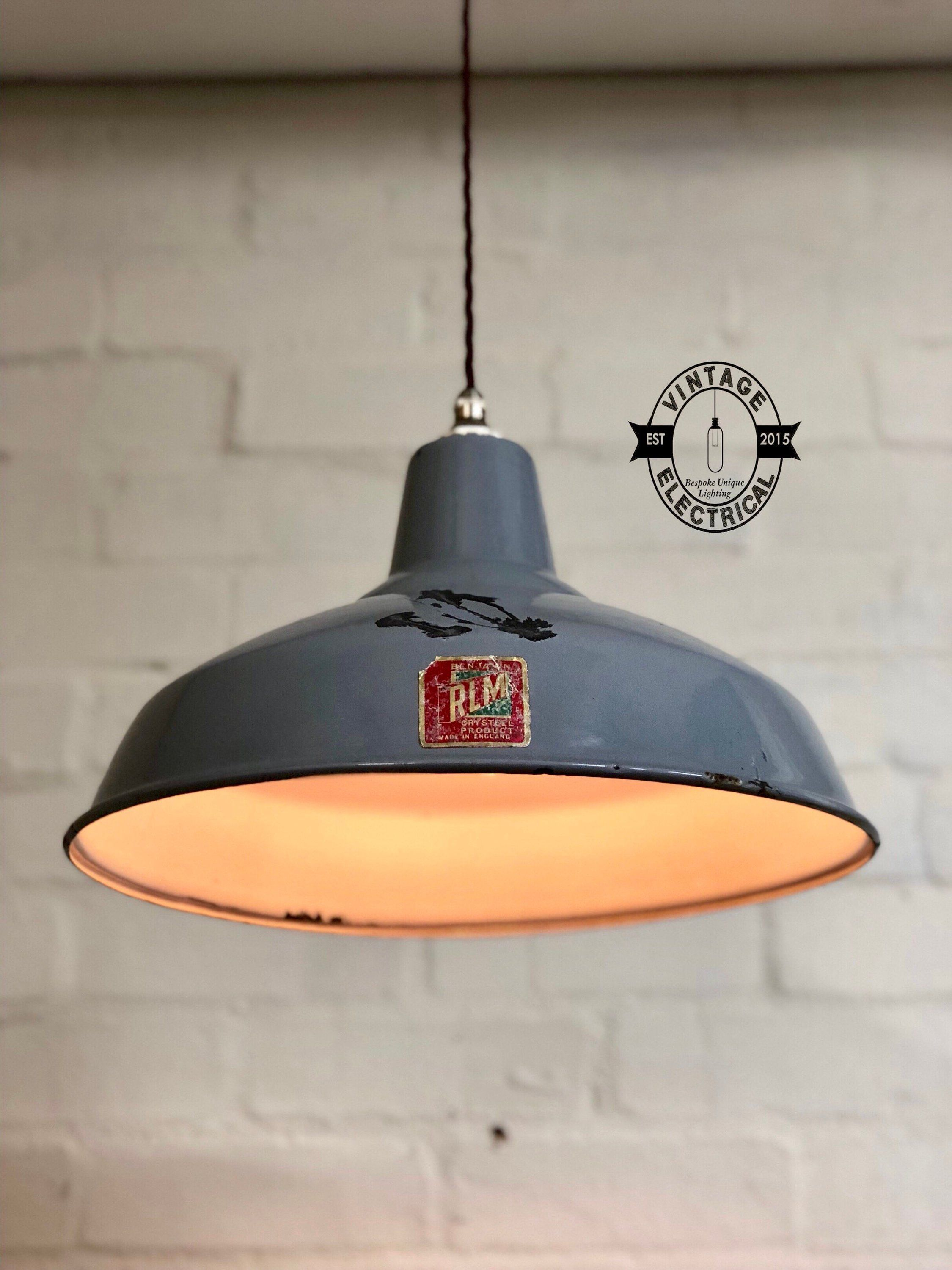 The Benjamin Grey Enamel Coated Industrial 1940s Factory Shade This Elegant Factory Light Is Perfect For All Styles Of Vintage Lighting Light Factory Lighting
