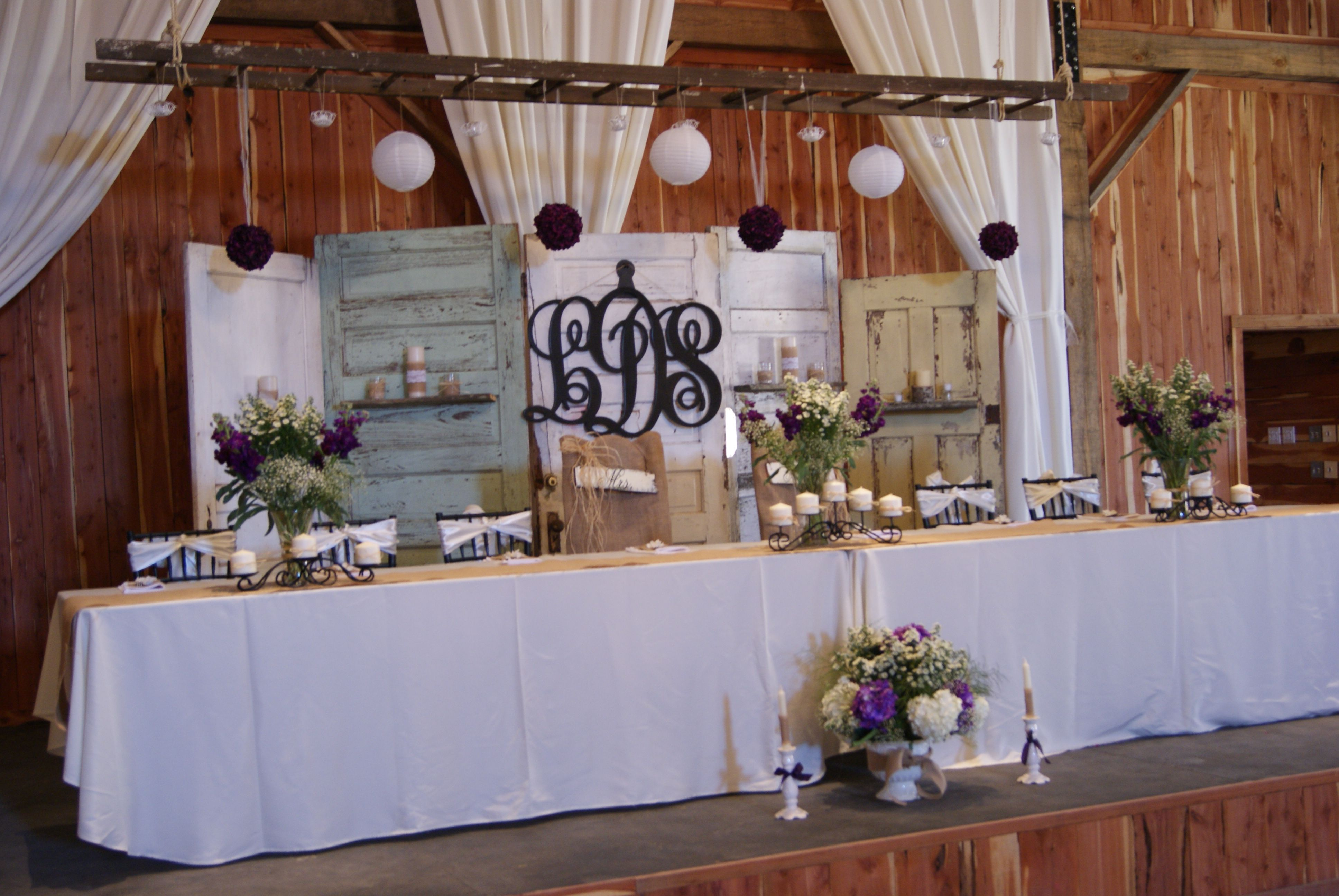 Rustic Ideas Old Doors Used As Wedding Backdrop Also Love The Ladder Hanging Head Table