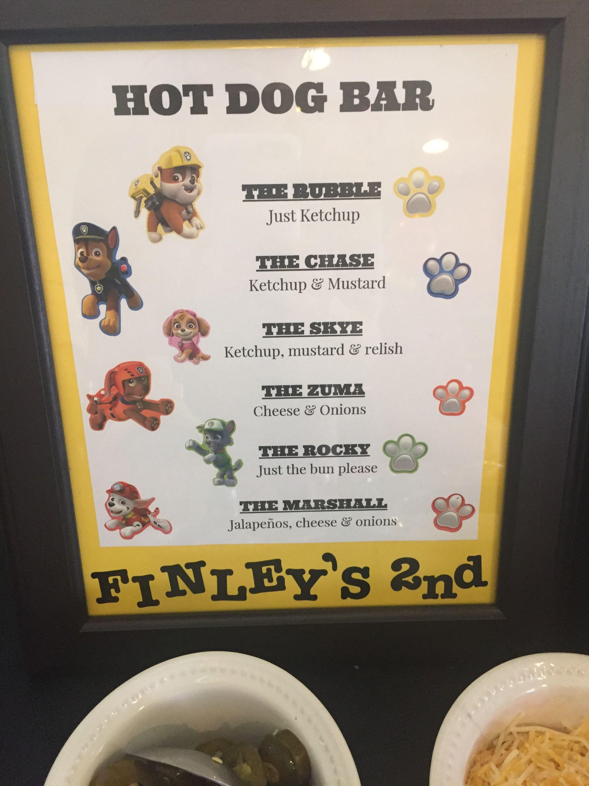 Hot Dog Bar Paw Patrol Birthday Party In 2019 Paw
